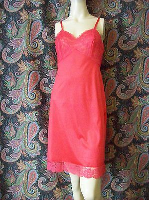 Vintage Vanity Fair Red Lacy Silky Nylon Tricot Slip Lingerie 32