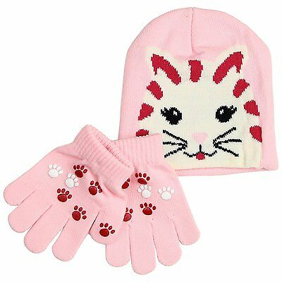 Toddler Animal Print Beanie With Knit Gripper Gloves Set - Kitten