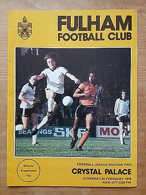 Fulham vs Crystal Palace 1977/1978 Divison Two Programme 77/78