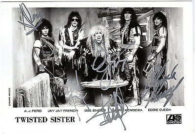 TWISTED SISTER Promo Photo FULLY SIGNED Dee Snider AJ Pero Stay Hungry AUTOGRAPH