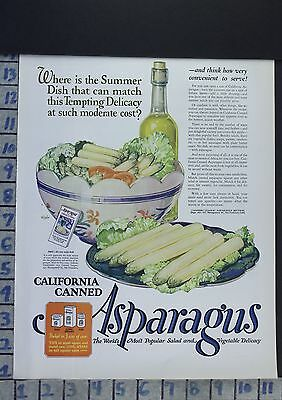 1926 Asparagus Dining Room California Food Kitchen Cook Bake Vintage Ad  Ca48