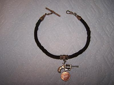 Antique Watch Hair Chain With Watch Pistol Fob