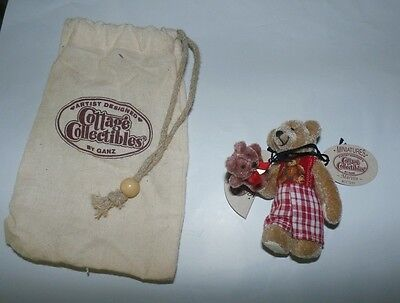 COTTAGE COLLECTIBLES BY GANZ MINIATURE Bear Marvin with Bag and Tags