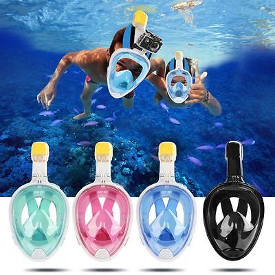 US Anti-Fog Swimming Full Face Mask Surface Diving Mask Scuba Snorkel For GoPro