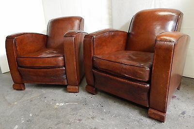 A Pair of Original 1930's French Art Deco Leather Club Chairs, Vintage, Antique