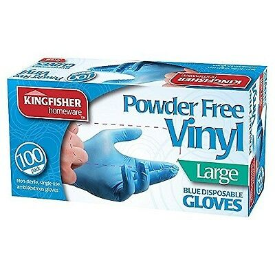 100 Powder Free Vinyl Blue Disposable Gloves LARGE
