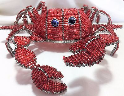 New BeadWorx 12in Red Glass Bead Wire Crab Beach House Indoor Outdoor Decor 117h