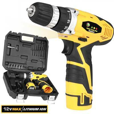 Trapano Avvitatore a Batteria al Litio In Valigetta 12V Cordless Con LED Work