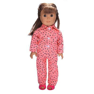 Pajamas Clothes Red Stars for 18'' American Girl Our Generation Doll Outfit