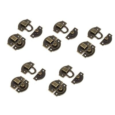 Antique Wood Box Latch Set Case Hasp Lock 27mm Long 10 Pcs Bronze Tone CP