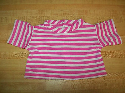 """BURGUNDY STRIPE STRIPES STRIPED KNIT TEE SHIRT for 16-18/"""" CPK Cabbage Patch Kids"""