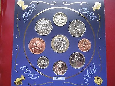 UK British 1998 9 BUNC coin collection set 1 Penny - 2£ Pound Royal Mint folder