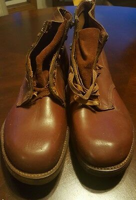 "rare vintage 50's pair mens size 10 brown leather 6"" lace work boots never worn"