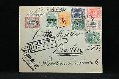 Bolivia: Tarija 1912 Registered Cover to Berlin, 8 Stamps, Seals on Back