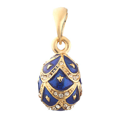 Faberge Egg Pendant / Charm with crystals 2 cm blue #0009-18-11