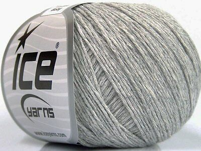 Lot of 8 Skeins Ice Yarns NATURAL COTTON BABY (100% Cotton) Yarn Light Grey