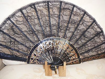 Ladies Vintage Spanish Black Lace Fan Casa De Diego Madrid Excellent Condition