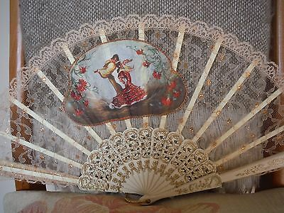 Vintage Gold  Lace & Fabric  Hand Fan Unusual Dancing Design Perfect Condition