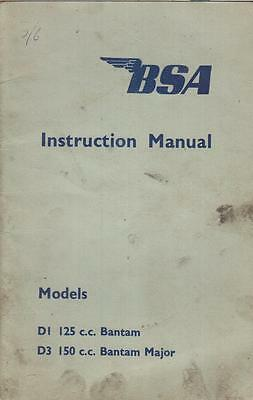 Bsa D1 Bantam & D3 Bantam Major Original 1955 Owners Instruction Manual
