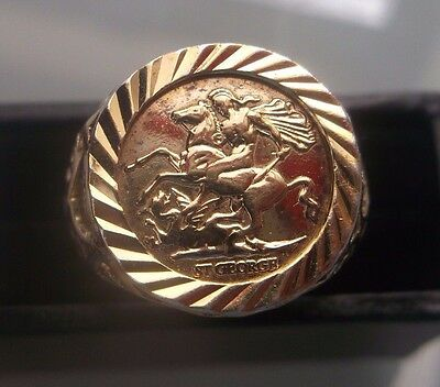 Men's/Women's Vintage Coin Ring Gold on Silver Hallmarked Size N Weight 5.4g