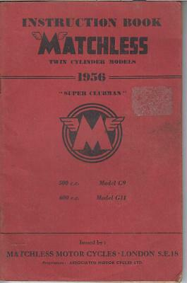 Matchless Model G9 & G11 Super Clubman 1956 Factory Maintenance&instruction Book