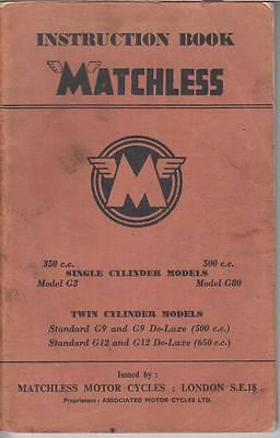 Matchless Model G3 G80 G9 G12 Orig. 1958 Factory Maintenance & Instruction Book