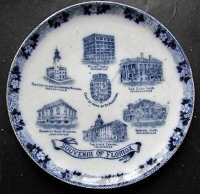 "Early Souvenir Of Florida  7 3/4"" China Plate Made by Wm Adams & Co England"