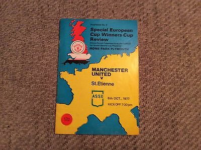 Manchester United V St Etienne1977 Program at Plymouth European Cup Tie.