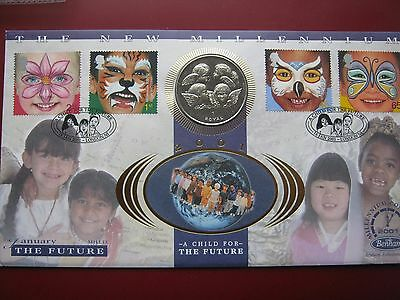 GIBRALTAR 1999 Four Cherubic Children Angels Royal Crown Coin Benham cover COA