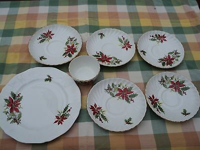 Vintage Royal Adderley Poinsetta Bone China _ Mixed