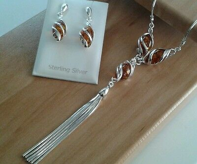Sterling Silver Amber Set. Necklace & Earrings. 13.2 Grammes.
