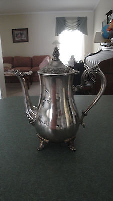 International Silver Co. footed coffee tea pot silver plate hinged lid USA