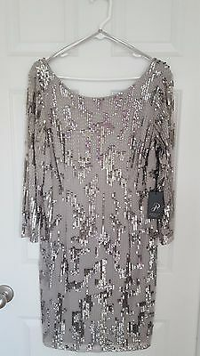Adrianna Papell NEW Gray Womens Size 16 Beaded-Sequin Shift Dress