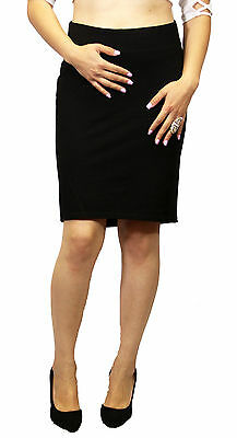 Maternity Solid Black Skirt Casual Wear Stretchy Moderm Belly Band