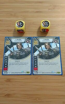 Star Wars Destiny - Rare - Jyn Erso - SoR - Card & dice x2