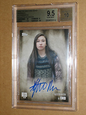 ✨✨ BGS 9.5 2016 WALKING DEAD KATELYN NACON ENID SEASON 5 AUTO autograph card 10