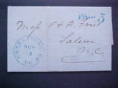 Confederate: Greensborough, NC 1861 09/09 Stampless Cover to Salem, NC