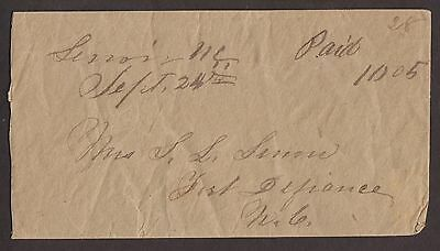 Confederate: Lenoir, NC CSA Stampless Cover, Ms, Paid 10 to Fort Defiance