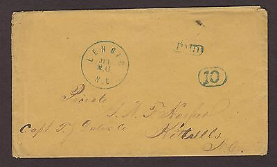 Confederate: Lenoir, NC CSA Stampless Cover, Blue CDS & Boxed PAID & 10
