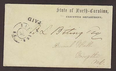 Confederate: Raleigh CSA State of North Carolina Executive Dept. Stampless Cover