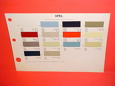 1966 1967 1968 Opel Kadett Rallye Sport Ls Coupe Station Wagon Paint Chips 66-68