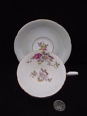White Gold Floral Royal Grafton Bone China Cabinet Cup And Saucer