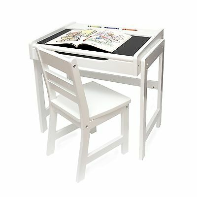 Lipper Child's Desk with Chalkboard Top and Chair Set, White Finish (654wh)