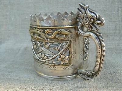 """Old China Solid Silver 900 Tea Cup Coaster """"Dragon"""" 124 Grams. BEST OFFER!!!"""