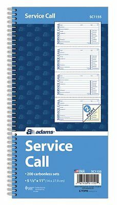 "Adams Spiralbound Service Call Book - Spiral Bound - 2 Part - Carbonless - 11"" X"