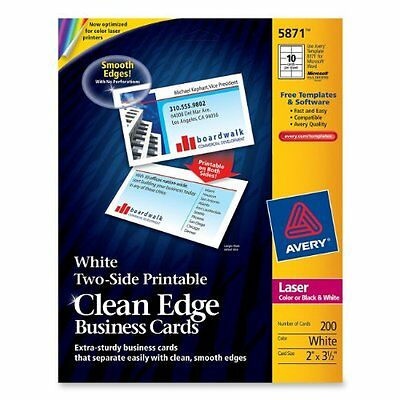 Avery Dennison 5871 200 Cards Cleanedge White 2x3.5 For Lasers Business-cards