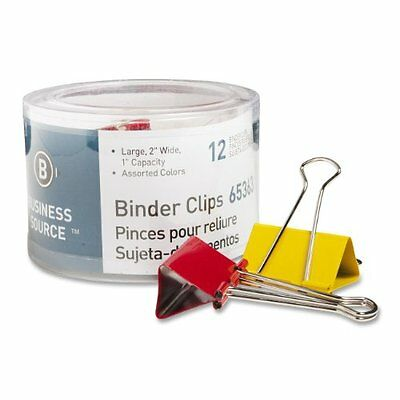 "Business Source Binder Clip - Large - 2"" Width - Steel - 12 / Pack - Assorted"