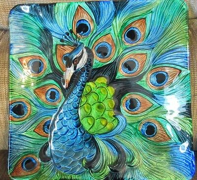 "Peacock Plate Painted Glass Blue & Green 12"" x 12"" Stained Glass Effect"