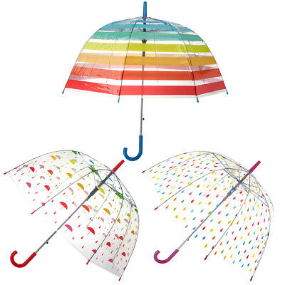 Set of 3 Bubble Umbrellas Automatic Open Dome Clear Rainbow Print Adults Kids