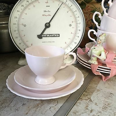 Vintage Tuscan Fine Bone China Trio Pale Pink Tea Cup Saucer Plate